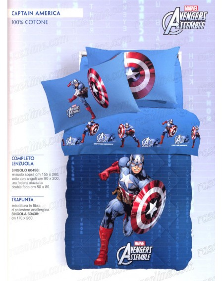 Completo Lenzuola Una Piazza Captain America Caleffi blu