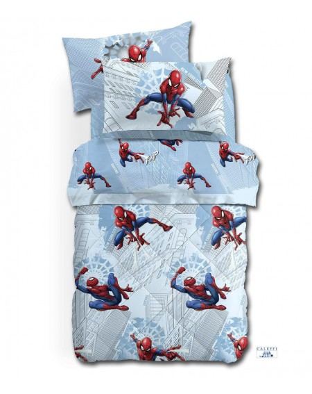 Cotton flannel Single Bed SET Flat sheet, fitted sheet, pillowcases Spiderman MANHATTAN