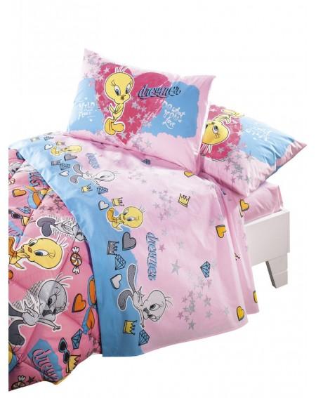 Bettlaken & Spannbetttücher Tweety Love Rosa