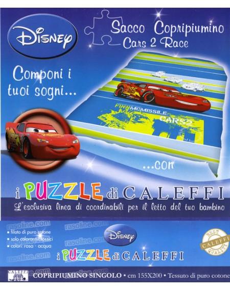 Sacco Copripiumino -Cars 2 Race- Esclusiva Linea Puzzle Di Caleffi Sfondo Arancio