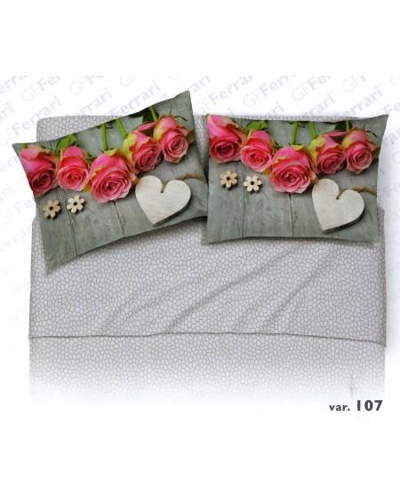 Completo Lenzuola Matrimoniale Caldo Cotone Rose Cuore Digitale Grigio Flanella GFF