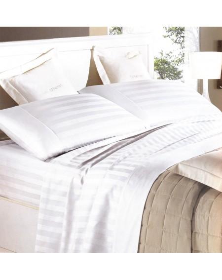 White Sheet Set in Pure Cotton Satin with Stipes for King size bed or Super King size bed Italia