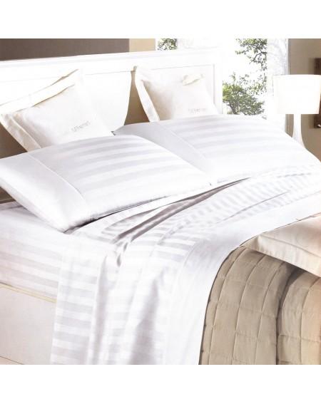 Parure de Draps complets, lit 180x200, en coton pur satiné Italie, blanc, rayé 2.5cm