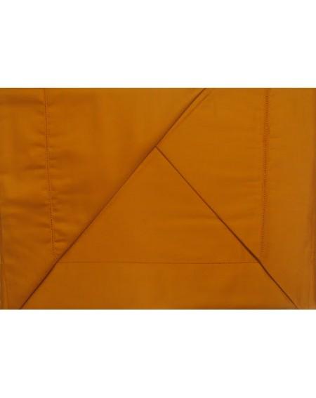 Completo Lenzuola Matrimoniale Raso Di Puro Cotone Arancio Ruggine Tinta Unita
