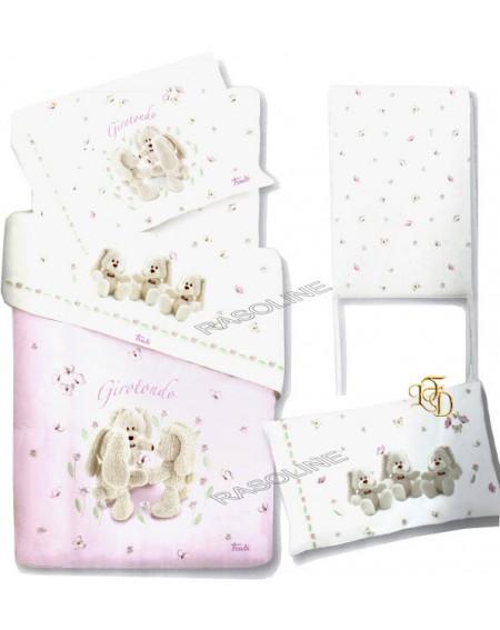 Trudi Ensemble de draps complet pour lit de bébé Couverture de bébé Virgilio Girotondo Rosa Gabel