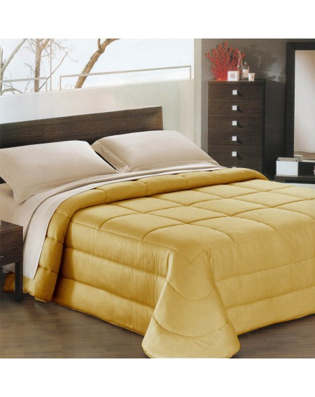Trapunta Invernale Matrimoniale in raso di cotone Ines GF Ferrari colore oro
