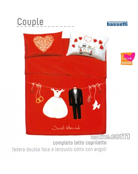 Bedding Sheets Flat Sheet+ Fitted Sheet + 2 Pillowcases Love Is A Couple By Bassetti