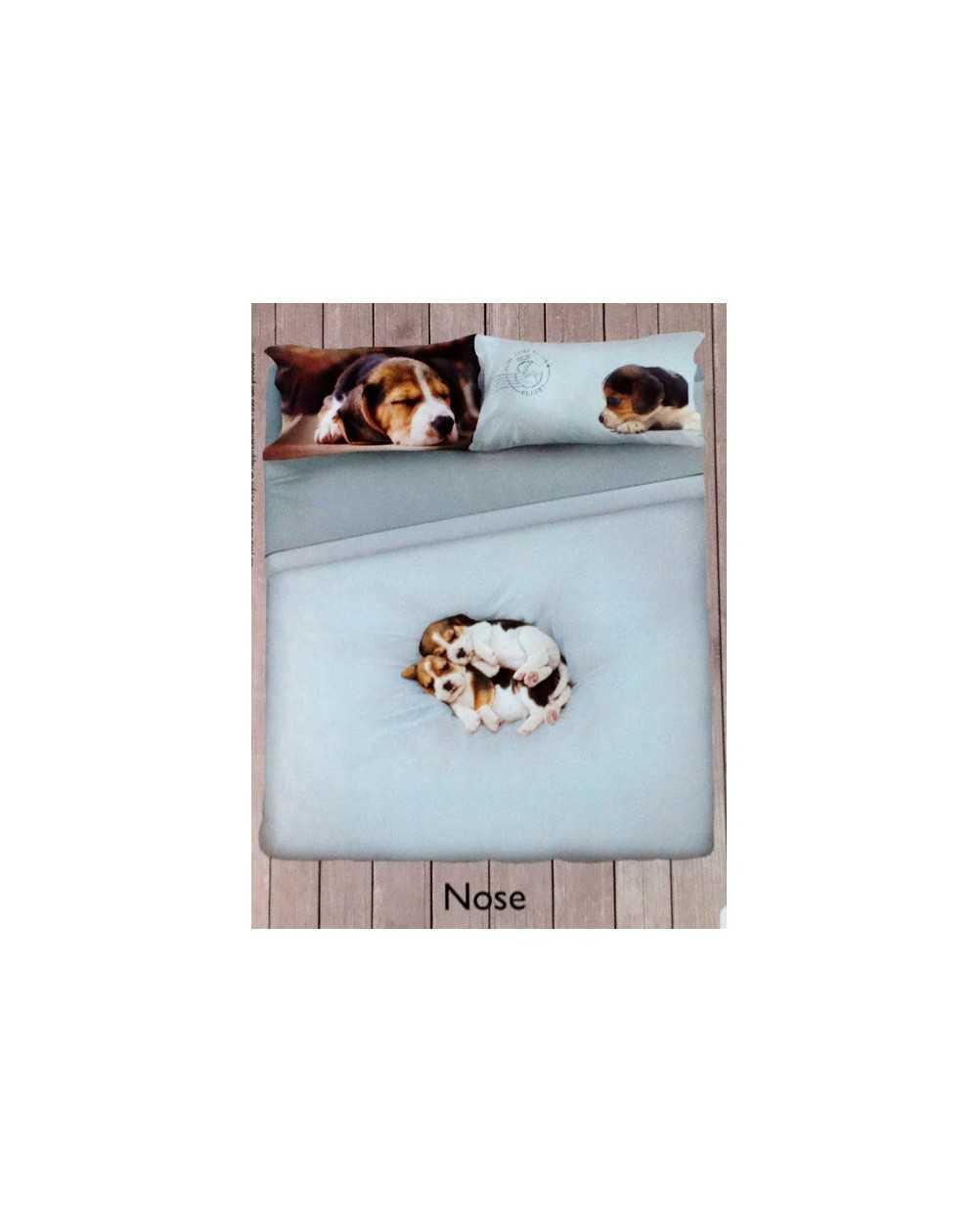Lenzuola Matrimoniali Con Cani.Set Lenzuola Copriletto Matrimoniale Planet Nose Cani Beagle Celeste Gabel
