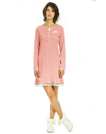 Nightgown Stelline coton flanel pink