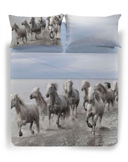 """Garnitur Bettlaken """" Wild Horses """" Farbe blauette einzelbett maße Caleffi"""