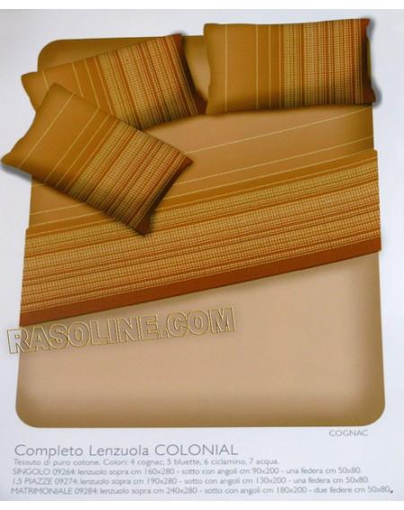 """Completo Lenzuola """"Colonial""""  Colore Cognac Per Letto Da Una Piazza - Caleffi -"""