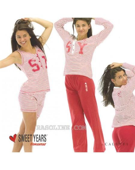 Pigiama Lungo Tuta Donna Sweet Years In Jersey Stampato Rosso