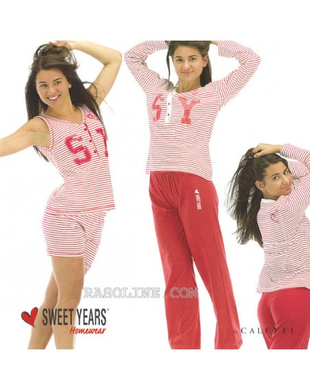 Schlafanzug Frauen Sweet Years Jersey rot Taglia L