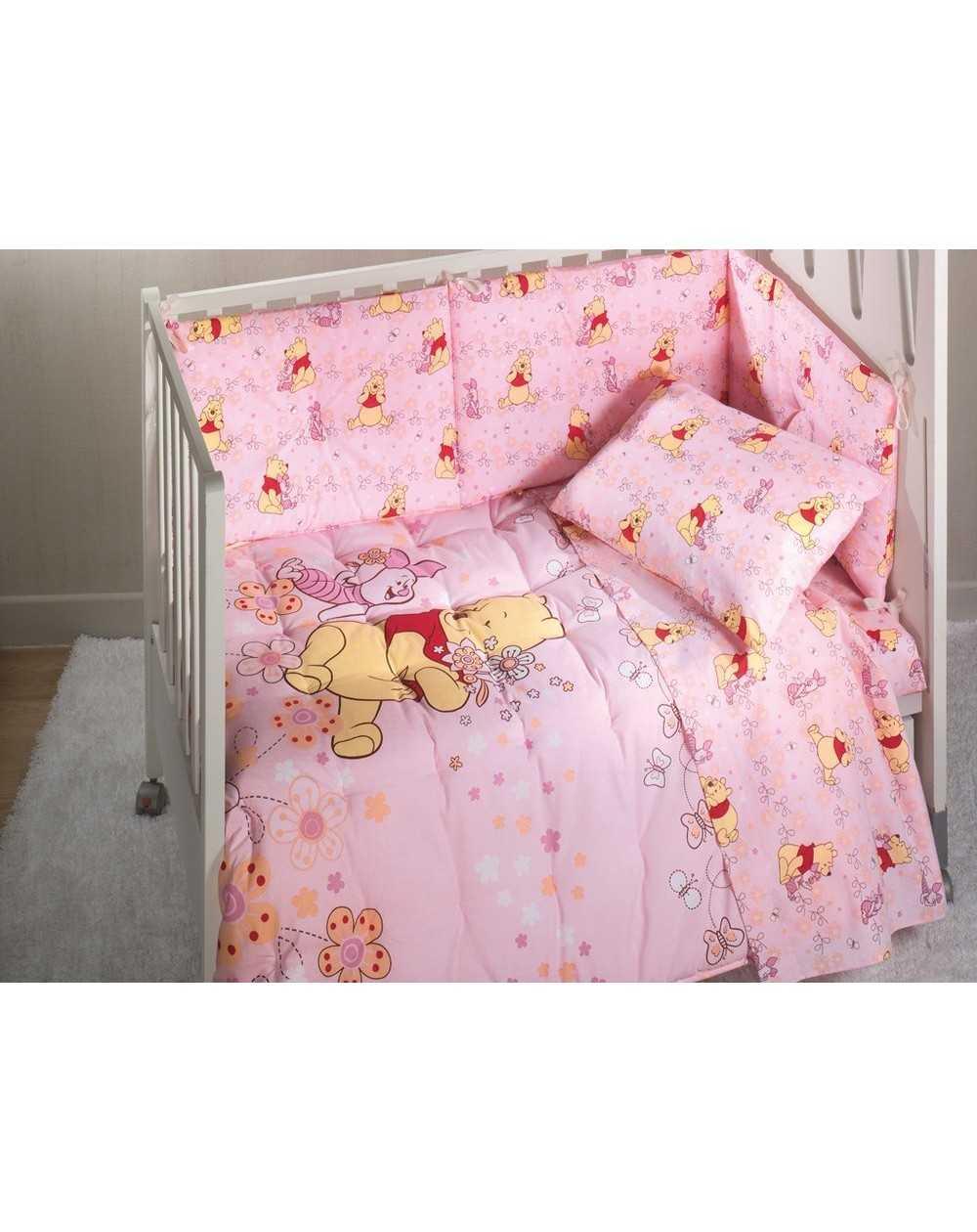 Trapunta Lettino Winnie The Pooh.Copriletto Trapuntato E Paracolpi Winnie The Pooh Love Rosa Disney Caleffi