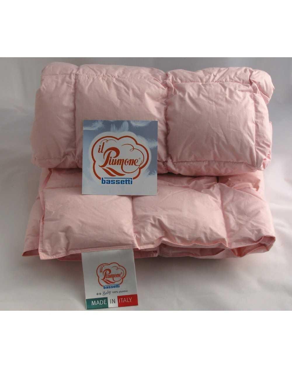 super popular 2d943 aab34 Piumino Bassetti in Piuma Vergine D'Oca per Lettino Neonato Baby Rosa