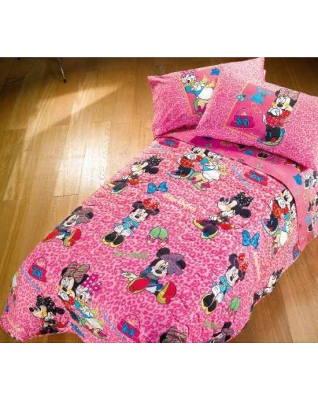 "Single Bed SET Flat sheet + fitted sheet + pillowcases Minnie "" TREND """