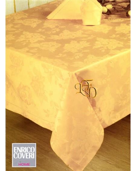 Servizio Tavola x 8 Assisi Oro Tovaglia + 8 Tovaglioli Fiandra di Cotone Coveri