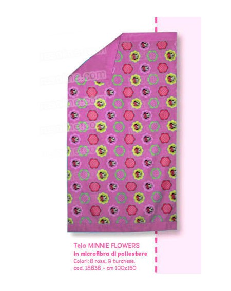 TELO BAGNO MARE MICROFIBRA MINNIE FLOWERS CALEFFI DISNEY ROSA