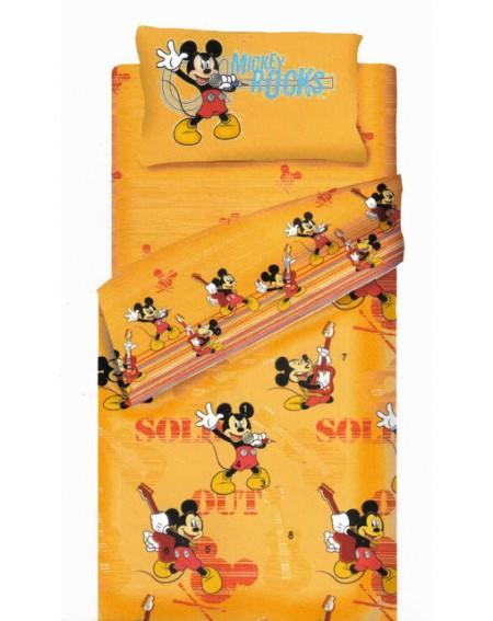 Bettwäsche Garnitur Biber Überschlaglaken Spannbetttuch Mickey Star