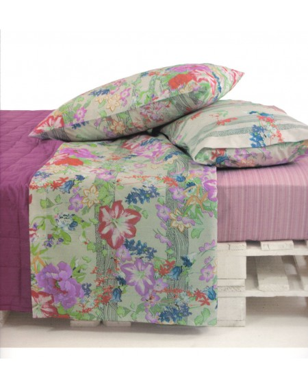 Bedding Sheets Flat Sheet+ Fitted Sheet + 2 Pillowcases Flowers Garden Bassetti
