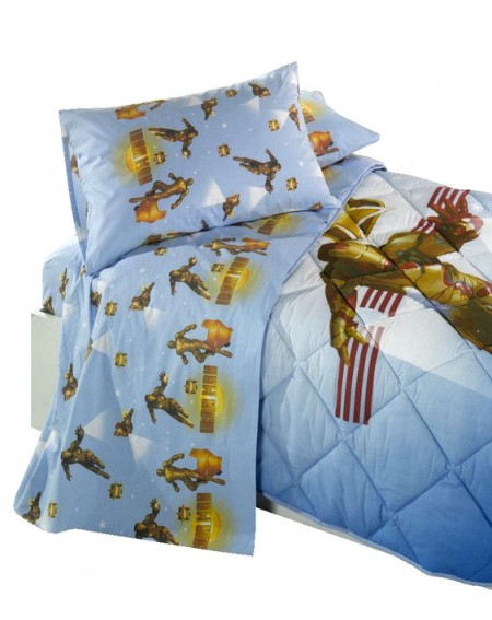 Single Bed SET Flat sheet fitted sheet + pillowcases Iron Man 3