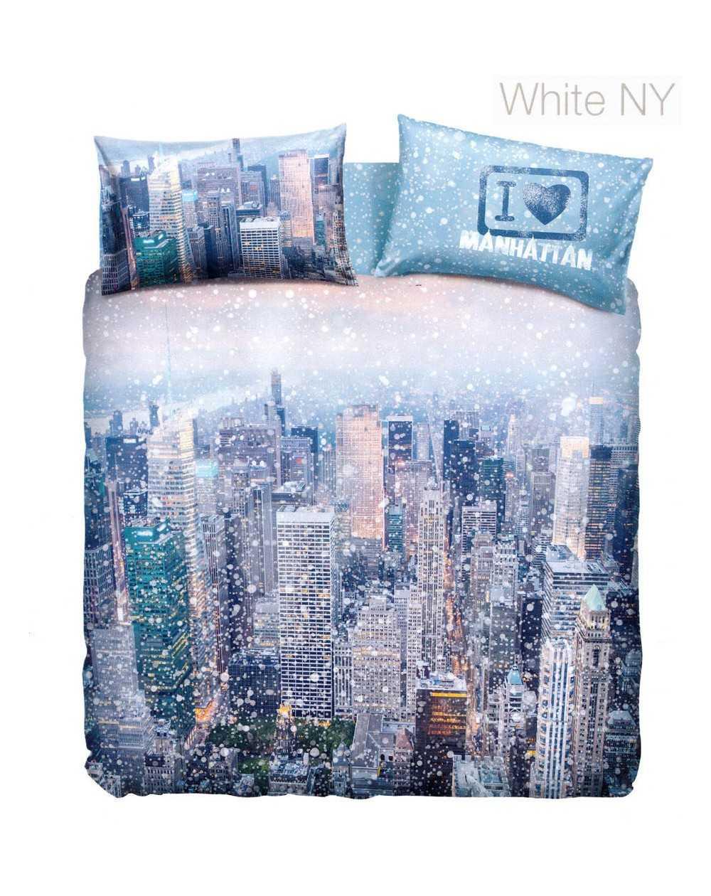 Copriletto Bassetti Una Piazza E Mezza.Set Copripiumino Una Piazza E Mezza Manhattan By Bassetti White New York