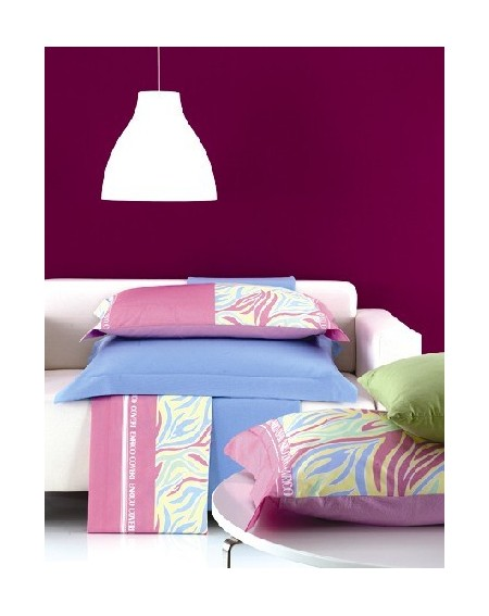 Garnitur Bettlaken einzelbett maße Enrico Coveri Percale Himmelblau