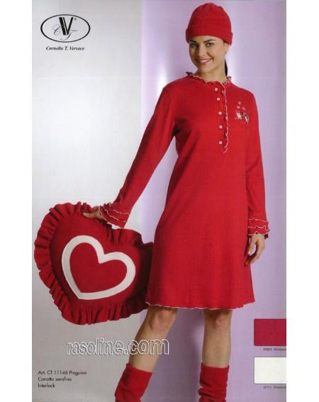 Camicia da Notte Cotone Interlock Strass Rosso C.T. Versace