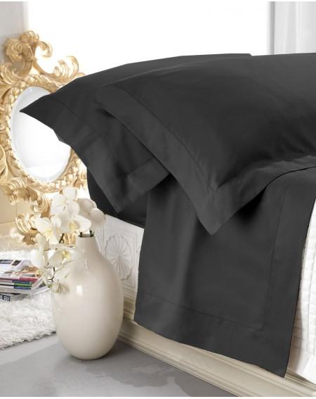 Set de draps en satin noir 100% coton