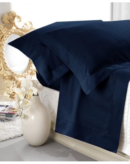 Garnitur Spannbettlaken Bettlaken satin blau