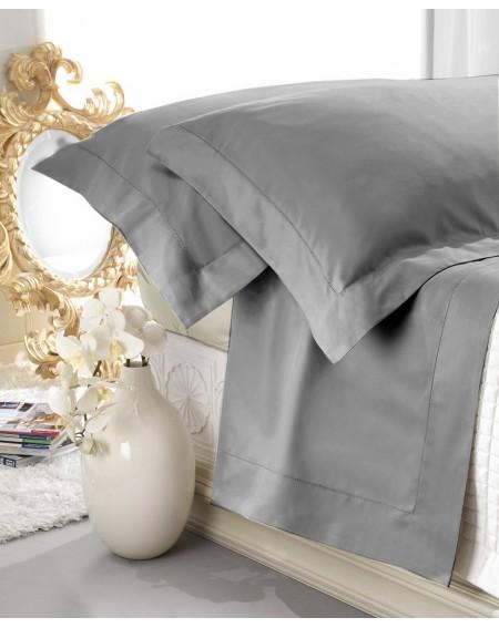 Set de draps en satin gris 100% coton