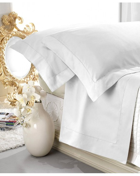 Set de draps en satin blanc 100% coton