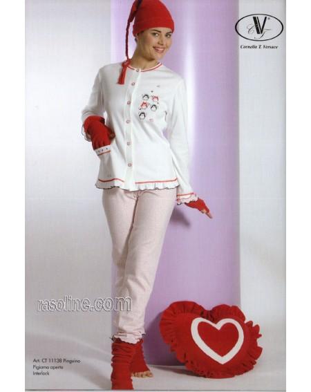 Schlafanzug Frauen-Mädchen tg. 42 Baumwolle Interlock Strass Panna C.T.Versace
