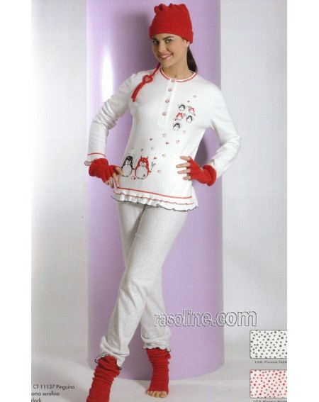 Schlafanzug Serafino Frauen Baumwolle Interlock Strass Panna C.T. Versace