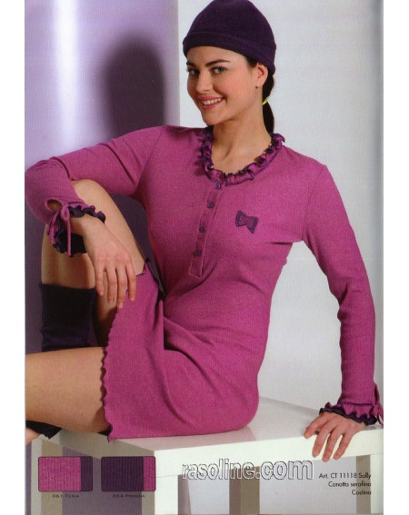 """Camicia da Notte """" SALLY """" Serafino Costina Strass Fuxia C.T. Versace"""