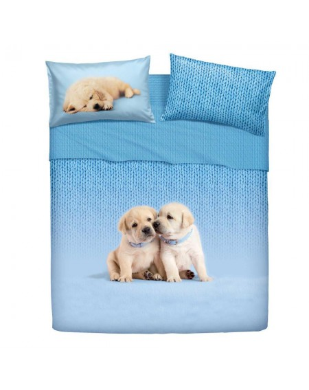 Single Bed SET Flat sheet and fitted sheet and pillowcases SOFT DOGS Bassetti