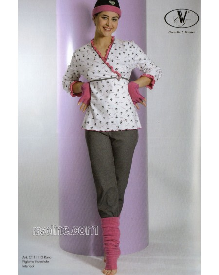 Pigiama Interlock Caldo Cotone Strass Rosa-Grigio C.T. Versace