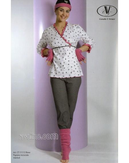 Schlafanzug Interlock warm Baumwolle Strass Rosa-grau C.T. Versace