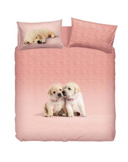 Bettbezug + Bettlaken SOFT DOGS pink By Bassetti