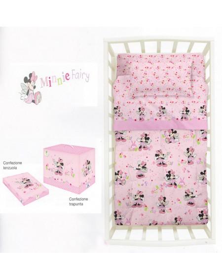 Baby-Bettwäsche Garnitur Spannbettlaken Spannbetttuch Minnie Fairy