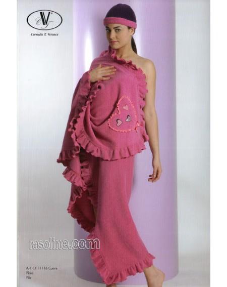 Coperta Plaid Cuore Morbido Pile di Viscosa Ricami Strass Rosa Fuxia C.T.Versace