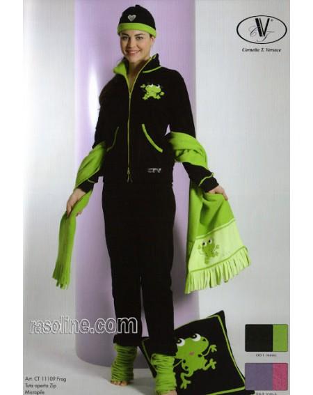 Tuta Donna Felpa Pantaloni Pile Viscosa +Ricami+Strass Frog Nero CTVersace