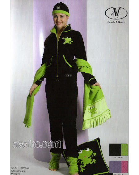 Survêtement Femme Sweat Pantalon Polaire Viscose + Broderie + Grenouille Strass Noir CTVersace
