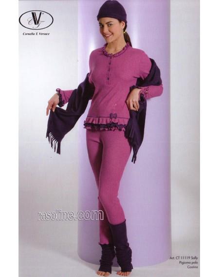 Schlafanzug Serafino Baumwolle Strass Fucsia C.T. Versace