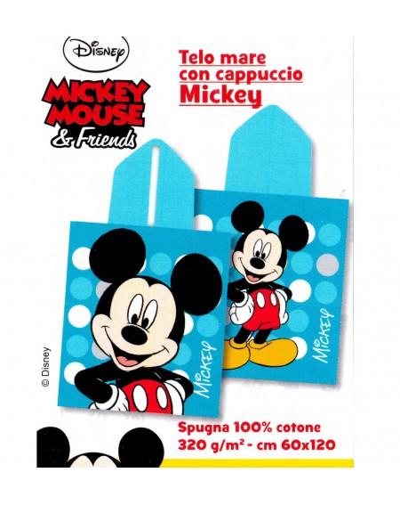 Poncho Mare Spiaggia Telo Topolino Accappatoio Azzurro Mickey Disney Caleffi