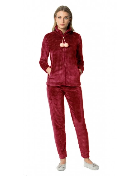 Fluffy Pajamas Coral Fleece Tracksuit Girl Red Bordeaux Noidinotte