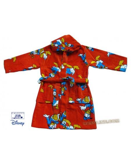 Accappatoio Cappuccio Paperino Star Rosso tg. 4/6 Ciniglia-Spugna Disney Caleffi