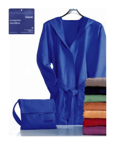 Bademantel in Microfiber + Tasche Farbe blau S M L Xl Bassetti nonsolonotte