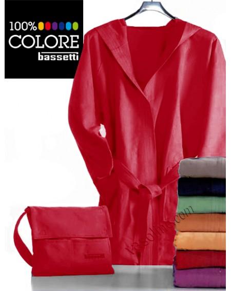 Bademantel in Microfiber + Tasche Farbe rot S M L Xl Bassetti nonsolonotte