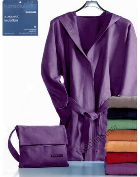 Bademantel in Microfiber + Tasche Farbe Viola S M L Bassetti nonsolonotte